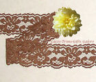 "5 Yards Lace Trim Brown Scalloped 1-1/4"" Floral N35AV Added Items Ship No Charge"