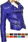 Ladies Blue Designer Leather Jacket Sz XS-3XL or Custom Made 12 Colors
