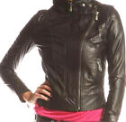 Women Black Leather Jacket YKK Zippers Sz XS-3XL 12 Colors