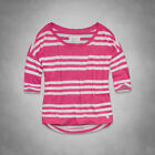 Abercrombie & Fitch Clara Tee Womens Pink Striped Shirt Relaxed Fit New NWT