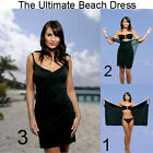 Saress BLACK Beachdress Coverup Swimwear Bikini Wrap Sarong Dress
