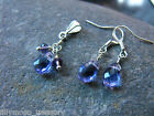 Silver plated faceted drop earrings cluster pendant set purple christmas gift