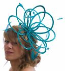 Jade Green Satin & Feather Fascinator hat wedding - choose extra colour feathers