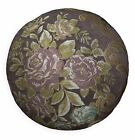 We503n Dark Brown Damask Chenille Round Shape Throw Pillow Case/Cushion Cover