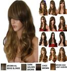 BROWN Mix Wig Natural Long Curly Straight Wavy Synthetic Wig Women Fashion Party