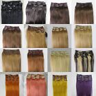 """Lot AAA 28""""-36""""Clip In Remy Real Human Hair Extensions Straight Any Color 140g"""