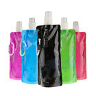 1/5x Outdoor Portable Folding Plastic Collapsible with Buckle Water Bottle HUK