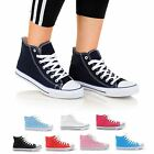 WOMENS LADIES CASUAL LACE UP HI TOP CANVAS PUMPS PLIMSOLLS TRAINERS SHOES