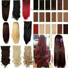 Deluxe 8 Piece Full Head Long Straight Curly Wavy Clip In Hair Extensions Brown