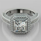 2.78Ct Princess Cut Pavé Engagement Ring 14K White Gold- Matching Band Available