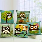 Owl Cotton Linen Cushion Covers Throw Pillow Cases 45 X45cm Kids Room Decor