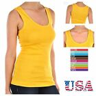 Women 100 Cotton Ribbed Tank Top T-Shirt Sports Gym Fashion Casual Sleeveless T