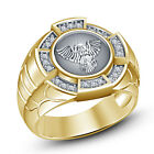 Solid .925 Silver Round White CZ 14k Yellow Gold Over Glorious Men's Eagle Ring