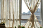 French Country Provincial Crochet Lace Check Linen Window Curtain Panel 022