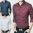 T6264 New Men's Plaids Luxury Casual Slim Fit Stylish Dress Shirts Long Sleeve