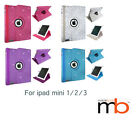 New 360 Degrees Rotating Diamond Bling Glitter Case Cover For I pad Mini 1/2/3