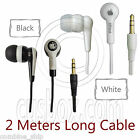 3.5mm 2M 2 Meters Long In-Ear Cable Wire Earbuds Headphones Earphones Headset