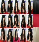 BLACK Womens Long Natural  Curly Straight Wavy Wigs Fashion Party Full Wig