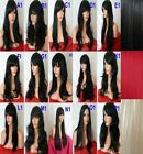 BLACK wig Curly Straight Wavy Party Fancy Dress Full Ladies HALLOWEEN WIG
