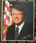 PRESIDENT Jimmy Carter American Flag signed color photo print approx. 8 x 10