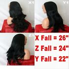 BLACK Long Curly Layered Half Wig Hair Piece Ladies 3/4 Wig Fall Clip in #1