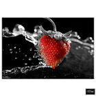 Strawberry Fruits   Food Kitchen BOX FRAMED CANVAS ART Picture HDR 280gsm