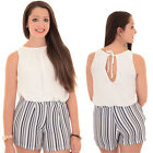 Womens Chiffon Lined Sleeveless Striped Contrast Crepe Romper Shorts Playsuit