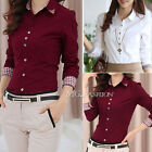 Fashion Women Office Lady Formal Button Down Shirt Long Sleeve Shirt Tops Blouse