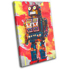 Robot Abstract Vintage  For Kids Room CANVAS WALL ART Picture Print VA