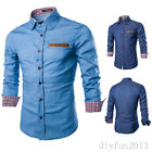 Hot Sale Mens Stylish Shirts Casual Slim Fit Dress Shirts Plaid Cuff Fashion New
