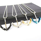 Men's Stainless Steel Silver Black Anchor Crystal Chain Pendant wwwfashion 1 Pcs