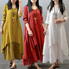 Vintage Double Layers Cotton Linen Long Top Women Spring Fall Loose A-Line Dress