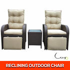 NEW Twin Recliner Chair Table Wicker Outdoor Furniture Setting Day Bed Sofa Set