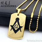"24""30""Stainless Steel Gold Beads Link Chain Necklace MASONIC DogTag Pendant*P71"