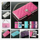 Bling PU Leather Chain Wallet Card Holder Case Cover Handbag For Cell Phones