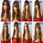 BROWN BLONDE Wig Long Wavy Straight Full Ladies Hair Fashion Wig costume #6/27