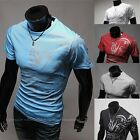 Good Shaped Men Clothing Handsome Chinese Style Printing Slim Round Neck T-Shirt