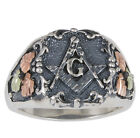 Mens Black Hills Gold on Oxidized Sterling Silver Masonic Ring  #40946-OX-GS