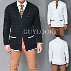 Sleek & Modern Mens Easy Fit Contrast Cable Sweater Knit Cardigan Jacket Guylook