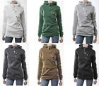 1x Women Casual Button Long-Sleeve Hoodie Sweatshirt Jacket Hooded Overcoat FKS
