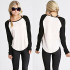 Sexy Women's Autumn Casual Long Sleeve Colorblocked Baseball T-Shirt Blouse Tops