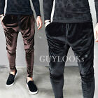 Street Edgy Mens Black Brown Velvet Baggy Cuffed Jogger Pants Sweatpants Guylook