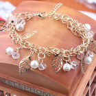 Elegant Korean Girls Pearl Crystal Golden Plated Alloy Bracelet Chain Bangle
