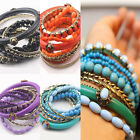 9pcs/Set Bohemia Personality Women Crystal Alloy Multi-layer Bangle Bracelet