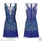 ROYAL BLUE 1920s GATSBY SHEER ILLUSION SEQUIN EVENING COCKTAIL PARTY DRESS S,M,L
