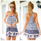 Womens Boho Summer Backless Elephant Print Evening Party Beach Dress Long Tops