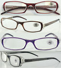 L209 Super Fashion Reading Glasses/Diamante & Laser Pattern Arms & Spring Hinges