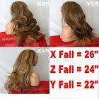 RED BROWN BLONDE Long Curly Layered Half Wig Piece Ladies 3/4 Wig Fall #4H6/27