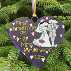 Personalised Wedding Couple First Christmas - Heart Tree Bauble Decoration Gift