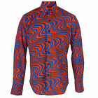 Chenaski 70's Wavyline Psychedelic Retro Orange/Blue Hippy Pop Art Shirt